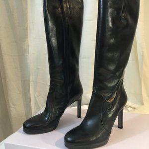 Lumiani Black Leather Platform Tall Boots Zip 8M